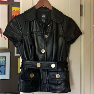 W by Worth black leather top